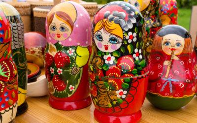 Bright Russian Matrushka Puzzle Dolls
