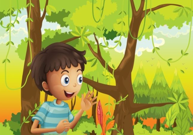 Illustration of a young man in the green forest