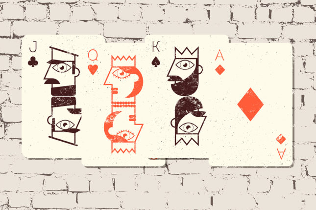 Jack, Queen, King and Ace. Stylized playing cards in grunge styl